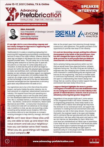 Advancing Prefabrication Speaker Interview - Alex Jonovski