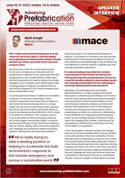 Advancing Prefabrication Speaker Interview - Matt Gough