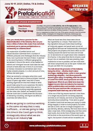 Advancing Prefabrication Speaker Interview - Paul Doherty